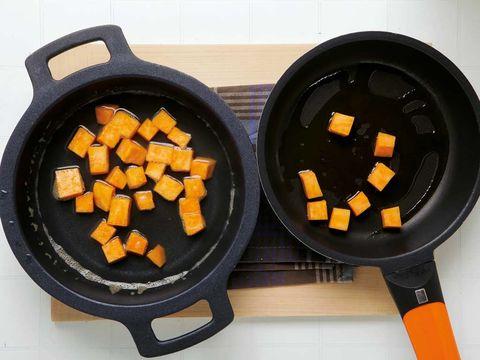 Food, Orange, Cuisine, Amber, Ingredient, Cookware and bakeware, Recipe, Dish, Frying pan, Meal,