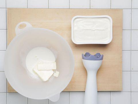 Dishware, Ingredient, Kitchen utensil, Rectangle, Plastic, Porcelain, Tile, Animal product, Dairy, Household supply,