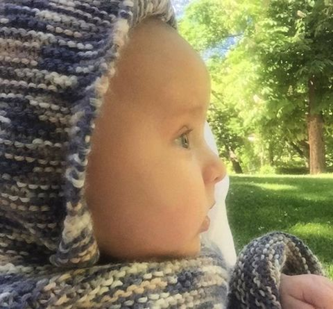 Lip, Cheek, Textile, Wool, Knitting, Woolen, Close-up, Knit cap, Baby, Creative arts,