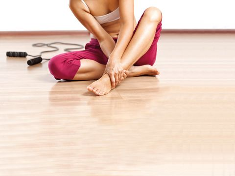 Flooring, Human leg, Joint, Performing arts, Floor, Sitting, Physical fitness, Barefoot, Knee, Exercise,