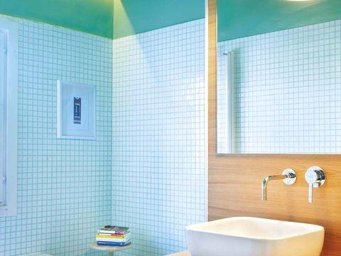 Plumbing fixture, Blue, Room, Property, Architecture, Wall, Interior design, Tile, Bathroom sink, Flooring,