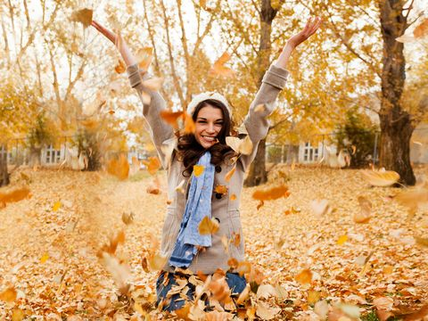 Mouth, Deciduous, Leaf, Tree, Autumn, Happy, People in nature, Street fashion, Portrait photography, Photo shoot,