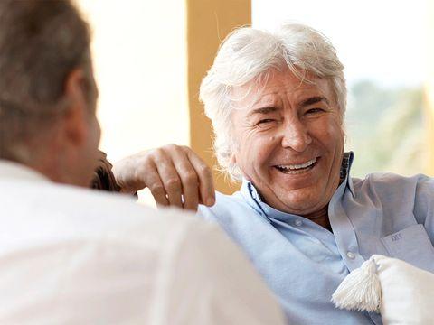 Skin, Happy, Mammal, Wrinkle, Tooth, Conversation, Laugh, Gesture, Grandparent, Hearing,