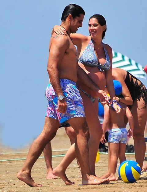 Leg, Fun, Ball, Human leg, People on beach, Barefoot, People in nature, Summer, board short, Trunks,