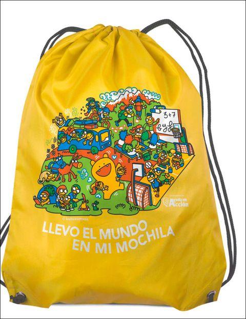 Product, Yellow, Orange, Bag, Illustration, Active shirt, Label,