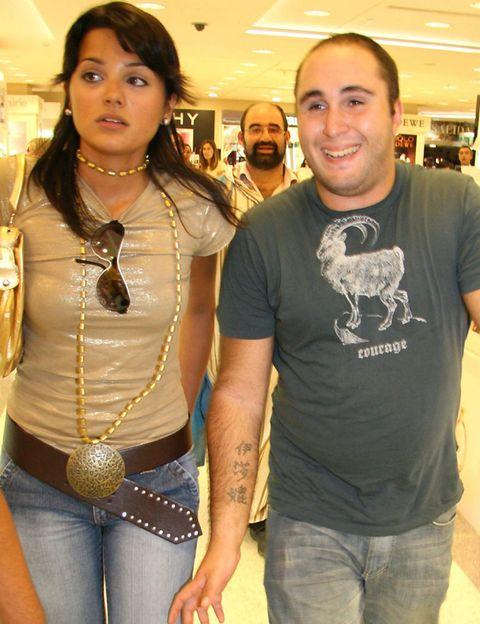 Denim, Jeans, Trunk, Chest, Fashion accessory, Abdomen, Waist, Jewellery, Necklace, Beige,