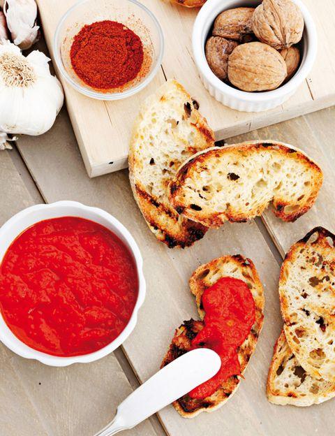 Food, Ingredient, Cuisine, Finger food, Condiment, Dish, Sauces, Baked goods, Carmine, Bread,