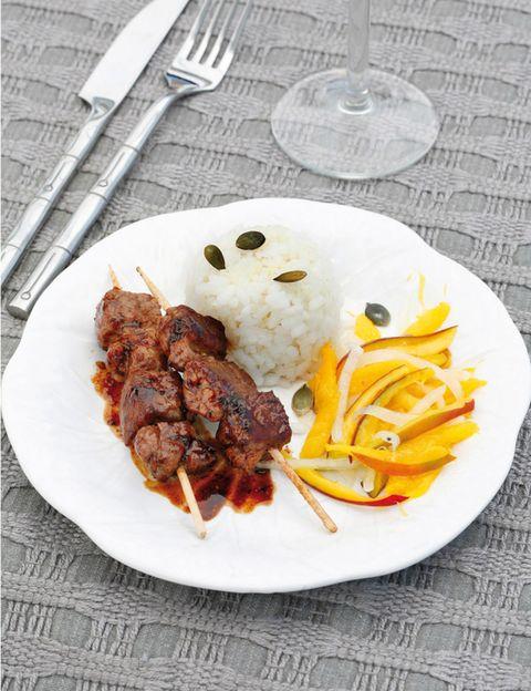 Dishware, Food, Cuisine, Tableware, Dish, Plate, Kitchen utensil, Cutlery, Kebab, Ingredient,