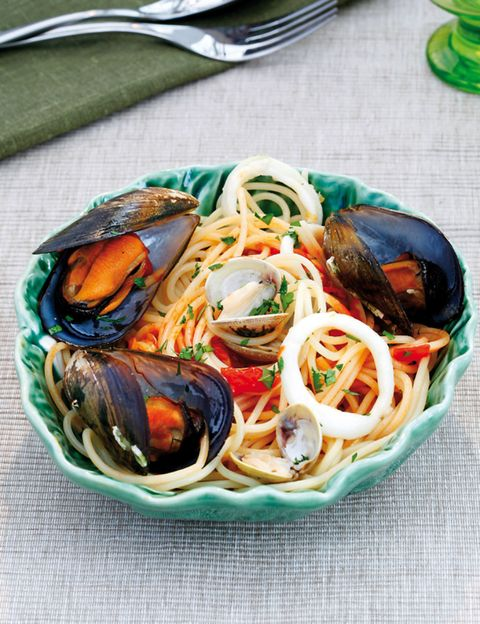 Food, Ingredient, Tableware, Cuisine, Seafood, Dishware, Recipe, Kitchen utensil, Dish, Teal,