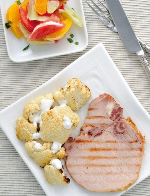 Food, Dishware, Cuisine, Ingredient, Kitchen utensil, Tableware, Pork, Peach, Cutlery, Serveware,