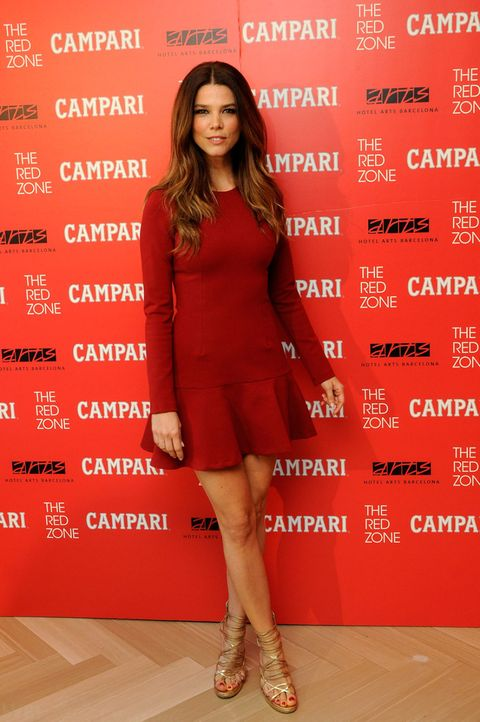 Human leg, Dress, Red, Shoe, Style, High heels, One-piece garment, Knee, Fashion model, Fashion,
