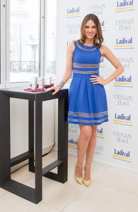 Blue, Dress, Shoulder, Human leg, Joint, One-piece garment, Style, Cocktail dress, Electric blue, Day dress,