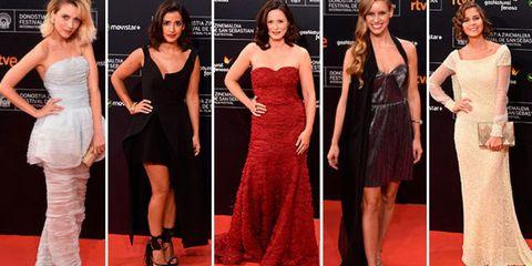 Clothing, Face, Dress, Flooring, Shoulder, Red, Formal wear, Waist, Style, Carpet,