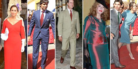Clothing, Coat, Trousers, Suit trousers, Red, Suit, Shirt, Standing, Collar, Dress shirt,
