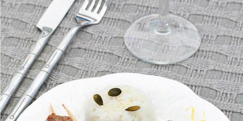 Dishware, Food, Cuisine, Tableware, Dish, Plate, Meat, Kebab, Cutlery, Kitchen utensil,