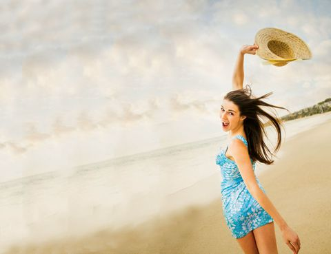 Happy, People in nature, Summer, One-piece garment, Dress, Waist, Beauty, Day dress, Flash photography, Sun hat,