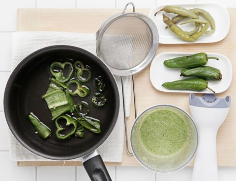 Green, Food, Ingredient, Cookware and bakeware, Tableware, Vegetable, Dishware, Condiment, Kitchen utensil, Frying pan,