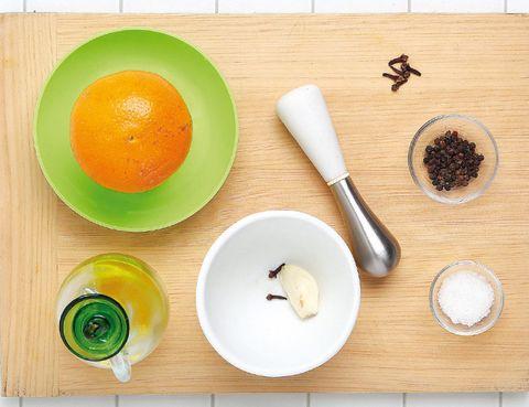 Dishware, Tableware, Kitchen utensil, Serveware, Ingredient, Kitchen knife, Chemical compound, Cutting board, Knife, Peach,