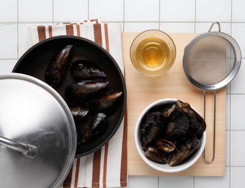 Food, Ingredient, Tableware, Seafood, Kitchen utensil, Serveware, Bowl, Dishware, Recipe, Spoon,