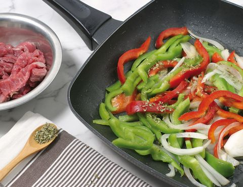 Food, Ingredient, Vegetable, Cookware and bakeware, Produce, Cuisine, Tableware, Recipe, Cooking, Red meat,