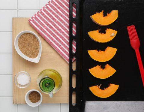 Cutlery, Kitchen utensil, Orange, Tableware, Dishware, Ingredient, Fork, Circle, Home accessories, Peach,