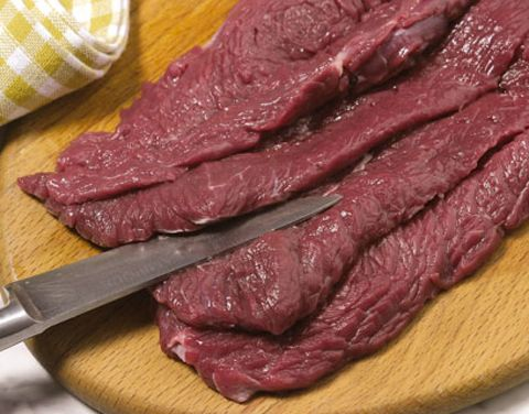 Food, Beef, Animal product, Ostrich meat, Red meat, Kitchen utensil, Flesh, Cutlery, Steak, Horse meat,