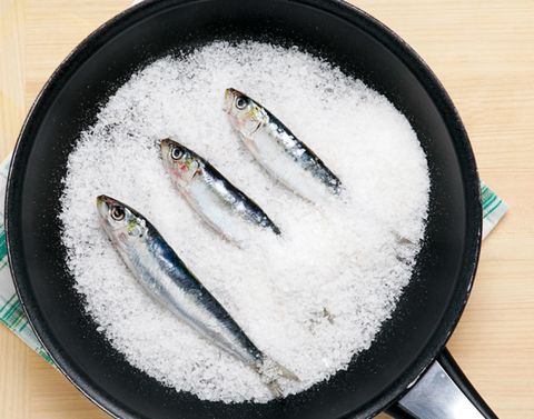 White, Fish, Fish, Cookware and bakeware, Cooking, Kitchen utensil, Silver, Seafood, Ray-finned fish, Anchovy (food),