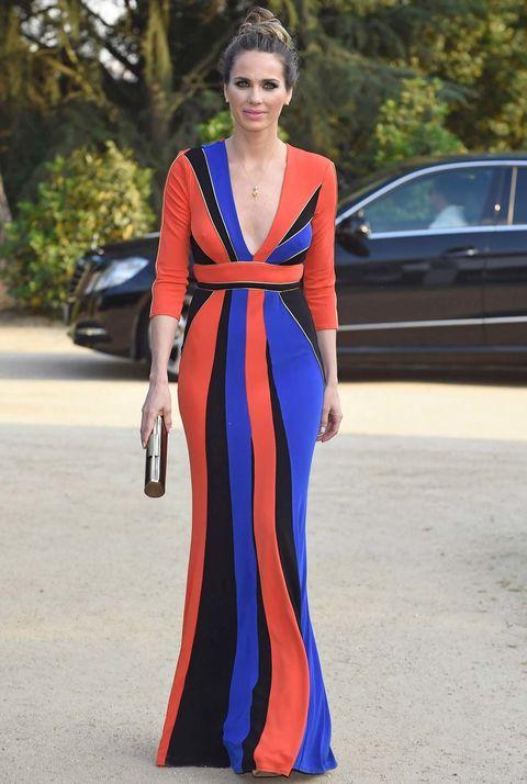 Clothing, Shoulder, Dress, Formal wear, Style, Fashion model, Street fashion, Electric blue, Fashion show, Fashion,