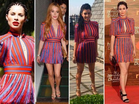 Clothing, Dress, Red, Style, Pattern, One-piece garment, Fashion, Beauty, Neck, Day dress,