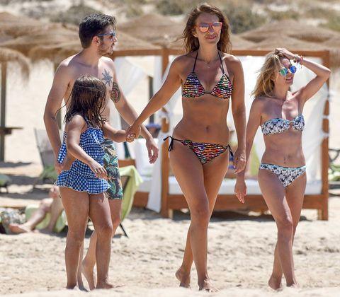 Clothing, Leg, Fun, Brassiere, Sand, People on beach, Human body, Photograph, Waist, Bikini,