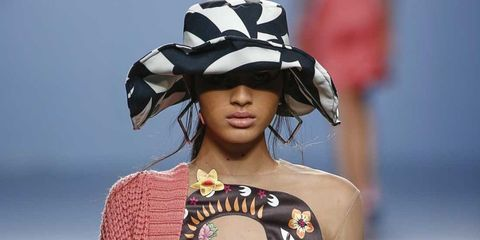 Clothing, Shoulder, Hat, Fashion model, Style, Dress, Fashion accessory, Costume accessory, Fashion, Fashion show,