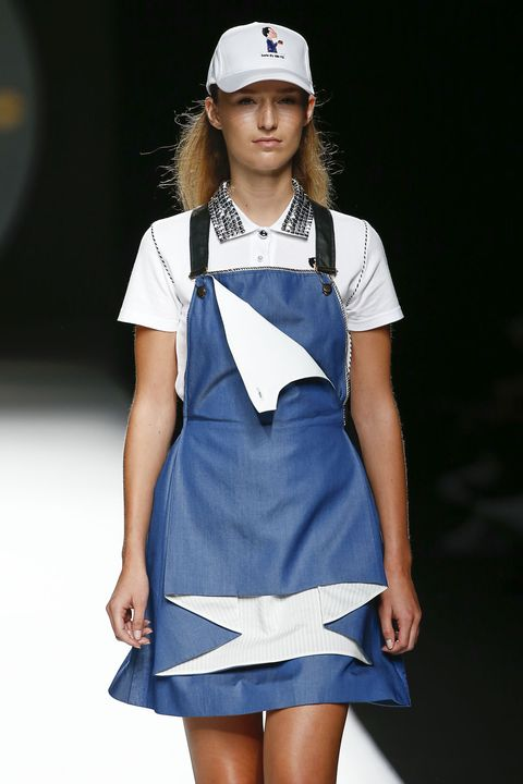 Blue, Sleeve, Human body, Cap, Shoulder, Dress, Joint, Collar, White, Human leg,
