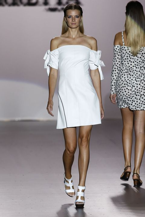 Clothing, Footwear, Leg, Sleeve, Human leg, Human body, Shoulder, Dress, Joint, White,