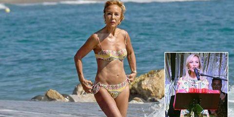 Carmen Lomana, en la playa de Marbella y como pregonera de la Feria de Ojén