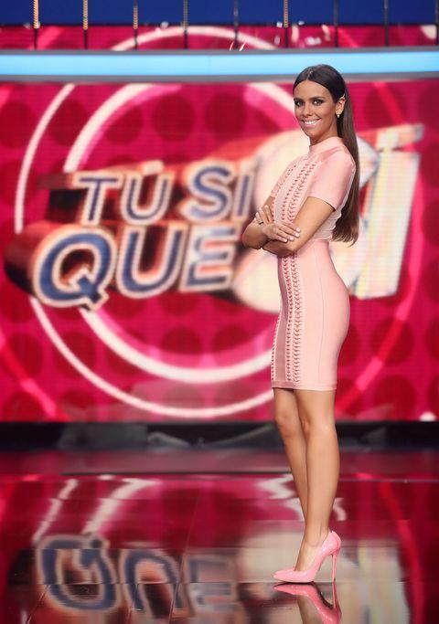Human, Red, Dress, Pink, Fashion accessory, High heels, Beauty, Magenta, Model, One-piece garment,