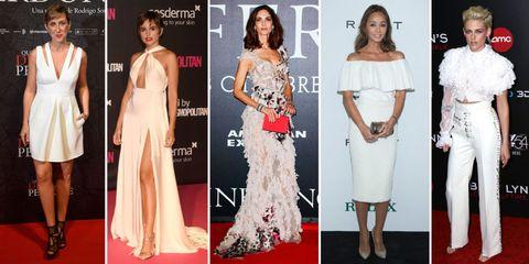 Clothing, Dress, Flooring, Shoulder, Red, White, Formal wear, Orange, Style, Carpet,