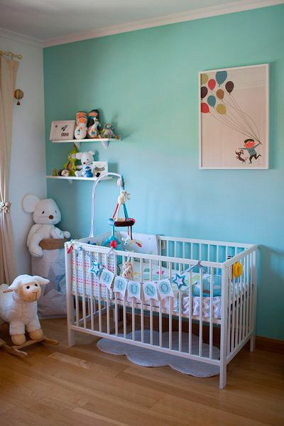 Wood, Blue, Product, Room, Interior design, Green, Floor, Textile, Infant bed, Home,