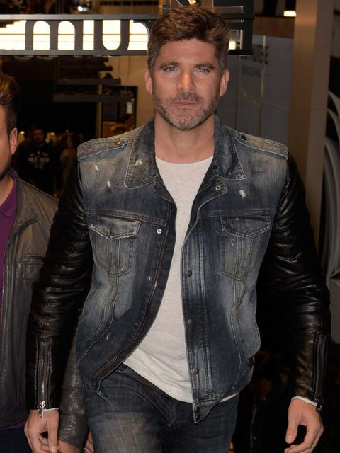 Clothing, Jacket, Denim, Trousers, Textile, Jeans, Shirt, Outerwear, Facial hair, Leather,