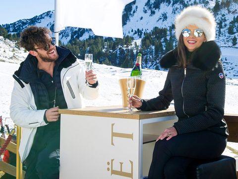 Eyewear, Winter, Vision care, Drink, Snow, Alcoholic beverage, Alcohol, Drinkware, Barware, Bottle,