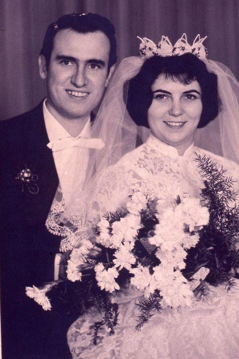 Face, Smile, Petal, Photograph, Bridal clothing, Bouquet, Happy, Facial expression, Formal wear, Bride,