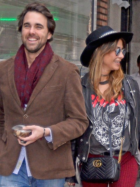 Eyewear, Hat, Outerwear, Bag, Coat, Fashion accessory, Drink, Sunglasses, Fashion, Street fashion,