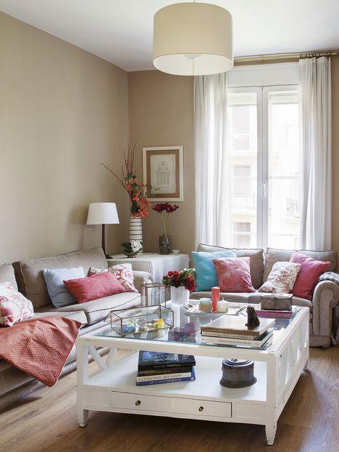Room, Interior design, Floor, Furniture, Home, Living room, Lampshade, Flooring, Interior design, Pink,
