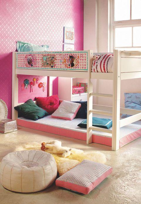 Room, Interior design, Textile, Bedding, Pink, Wall, Bedroom, Linens, Home, Interior design,