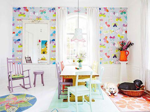 Room, Interior design, Furniture, Floor, Flooring, Home, Turquoise, Decoration, Interior design, Peach,