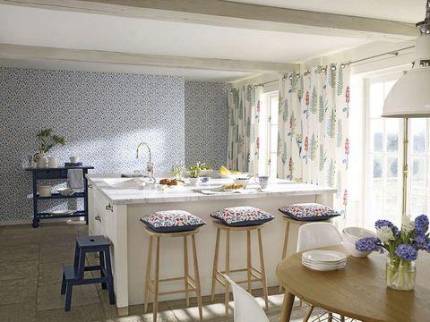 Room, Interior design, Furniture, Table, Ceiling, Dishware, Interior design, Floor, Light fixture, Grey,