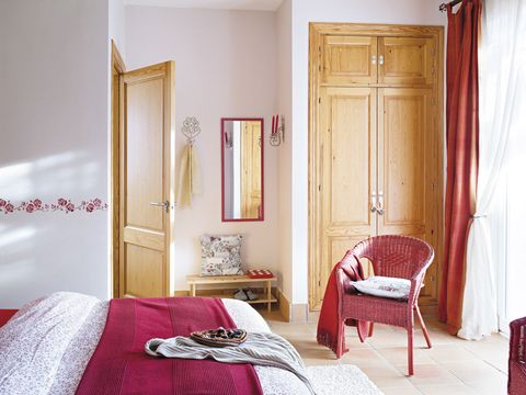 Room, Interior design, Bed, Textile, Furniture, Red, Linens, Wall, Bedroom, Bedding,