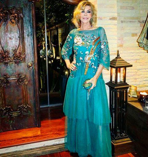 Jewellery, Dress, Formal wear, Teal, Aqua, Turquoise, Electric blue, One-piece garment, Necklace, Cobalt blue,