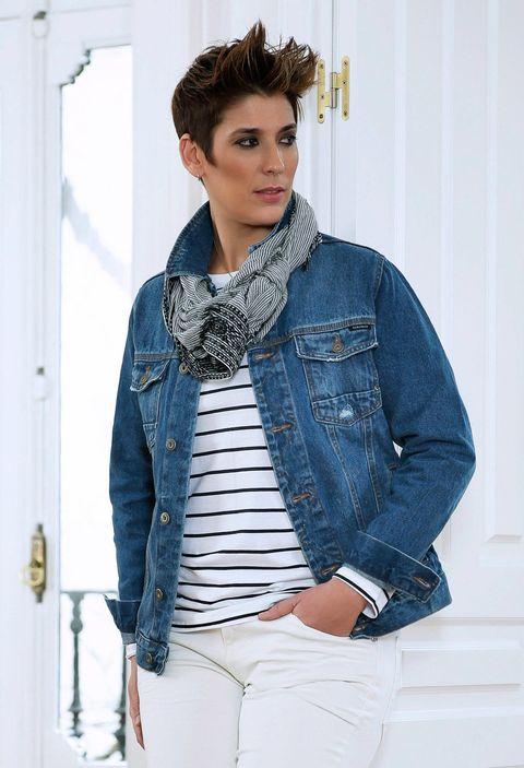 Clothing, Jacket, Sleeve, Collar, Denim, Shoulder, Textile, Outerwear, White, Style,
