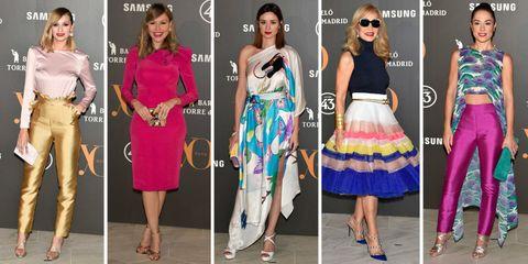 Clothing, Footwear, Leg, Outerwear, Fashion accessory, Style, Formal wear, Sunglasses, Magenta, Dress,
