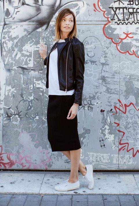 Clothing, Photograph, Street fashion, Snapshot, Fashion, Pencil skirt, Outerwear, Footwear, Black-and-white, Leg,